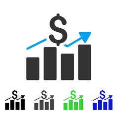 Sales bar chart flat icon vector