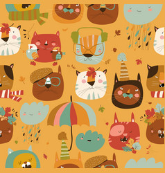 seamless pattern with muzzles cats and autumn vector image