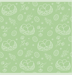 Seamless pattern with nests and plant elements vector