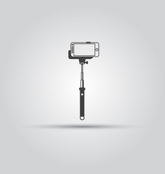 selfie monopod stick with smartphone icon vector image