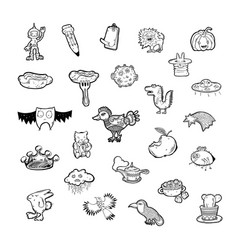 set 25 hand drawing sketch icon doodle objects vector image