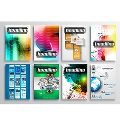 set flyer design infographics brochure designs vector image