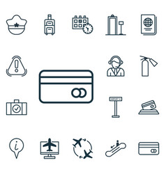 Set of 16 traveling icons includes siren fly vector