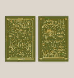 set of vertical christmas and new year greeting vector image