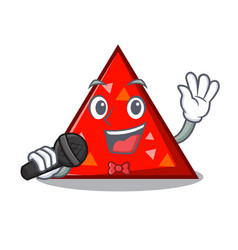 Singing triangel mascot cartoon style vector