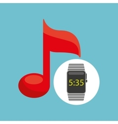 Smart watch technology with music note vector