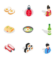 South korea icons isometric 3d style vector