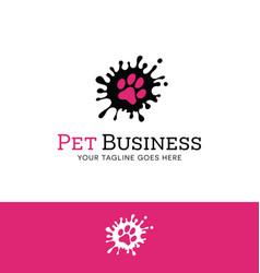 Splatter paw print logo vector