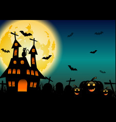 Spooky halloween background with pumpkins and vector