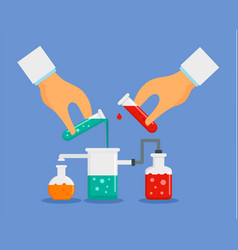 start chemical experiment concept background flat vector image