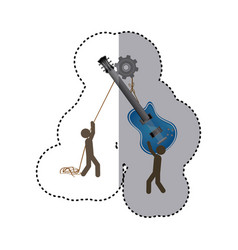 sticker colorful workers with pulley holding vector image