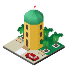 three-story tower building with palm trees vector image