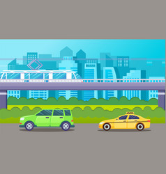 traffic cars ground metro urban scape green vector image