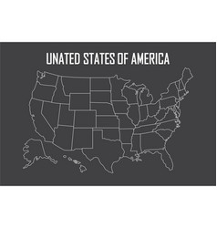 usa linear map with state boundaries blank white vector image
