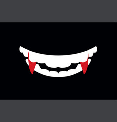 Vampire mouth with fangs halloween vector