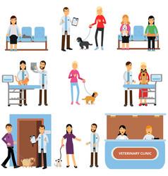 Vet clinic set veterinary doctors examining dogs vector