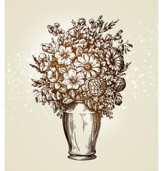 Vintage vase with flowers Sketch vector