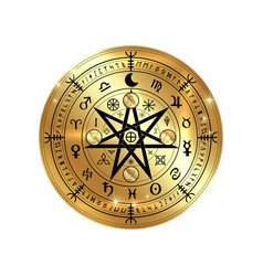 Wiccan symbol of protection gold mandala runes vector