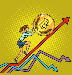 woman businesswoman roll a bitcoin coin up vector image