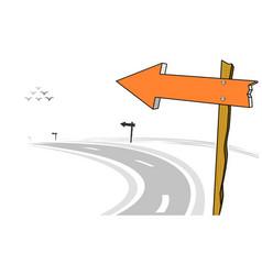wooden arrow sign post left curve road vector image