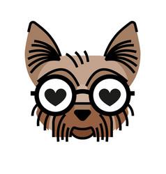 Yorkshire terrier wearing eyeglasses fall in love vector
