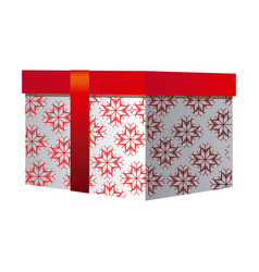 box gift christmas decorative with red ribbon vector image