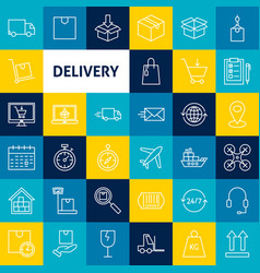 delivery line icons vector image