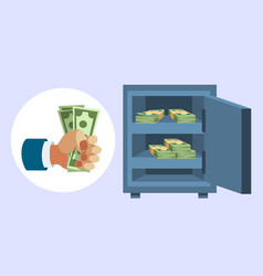 dollar paper business finance money stack in hand vector image