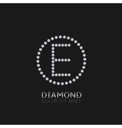 E letter with diamonds vector image vector image