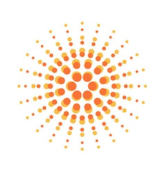 Sun burst round orange particles sign vector