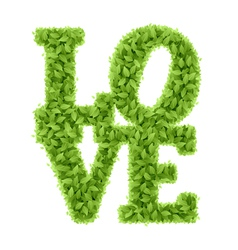 Word Love from leaves vector image