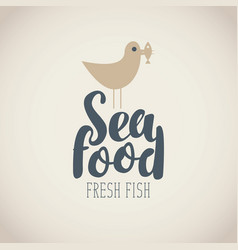 banner for seafood with seagull fish and words vector image vector image