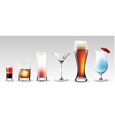 full glasses set vector image