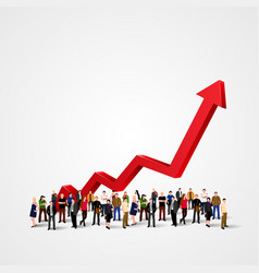 growth chart and progress in people crowd vector image