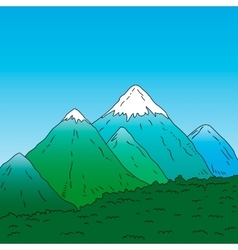 Mountain landscape Green mountains with snowy vector image