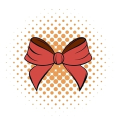 Red bow comics icon vector image vector image