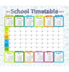 Template school timetable 2016-2017 vector image vector image