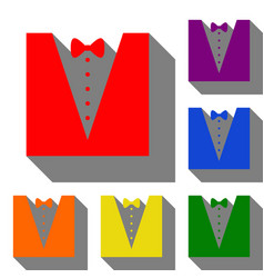tuxedo with bow silhouette set of red orange vector image