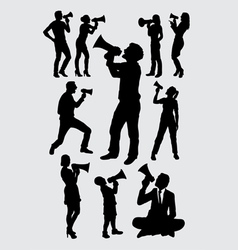 Attractive people with megaphone silhouettes vector image