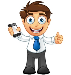 Business Man Thumbs Up With Mobile vector image vector image