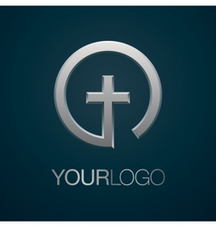 Christian church silver logo vector image