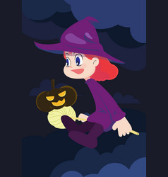 cute witch girl character with pumpkin vector image