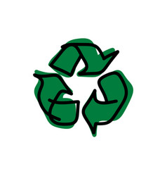 drawing green recycle sketch vector image