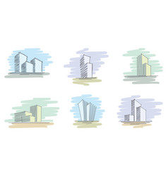 hand drawn architectural sketches vector image