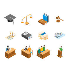 law court 3d icons set isometric view vector image vector image