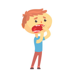 unhappy boy character suffering from toothache vector image vector image