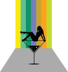girl in martini color vector image
