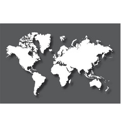 political world map with shadow isolated on gray vector image vector image