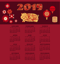 2019 calendar design template in chinese style vector image