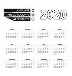 2020 calendar in latvian language week starts vector